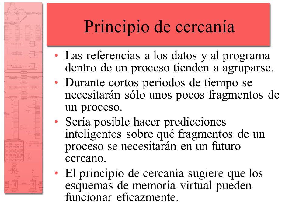 Principio de cercanía Las referencias a los datos y al programa dentro de un proceso tienden a agruparse.