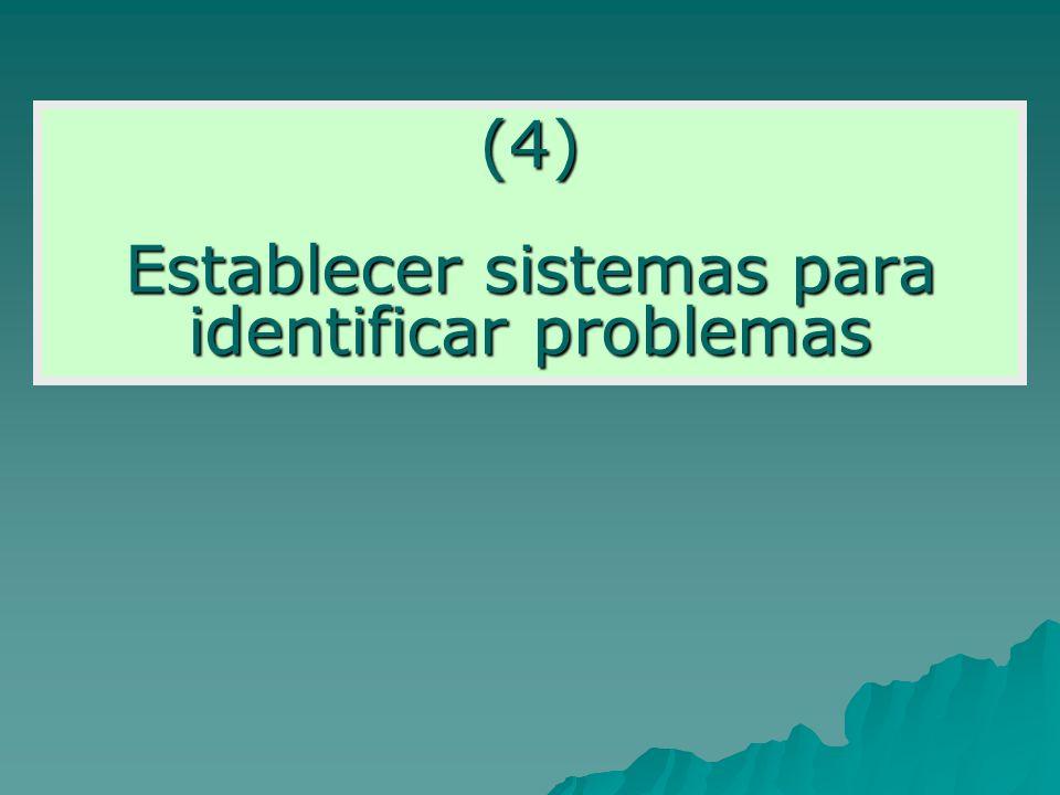 (4) Establecer sistemas para identificar problemas