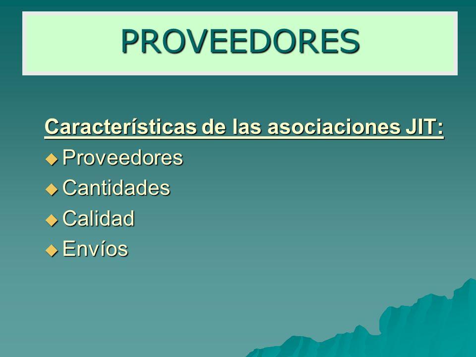 PROVEEDORES Características de las asociaciones JIT: Proveedores