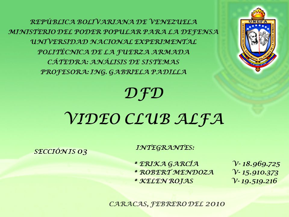 DFD VIDEO CLUB ALFA REPÚBLICA BOLIVARIANA DE VENEZUELA
