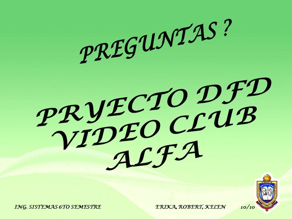 PREGUNTAS PRYECTO DFD VIDEO CLUB ALFA
