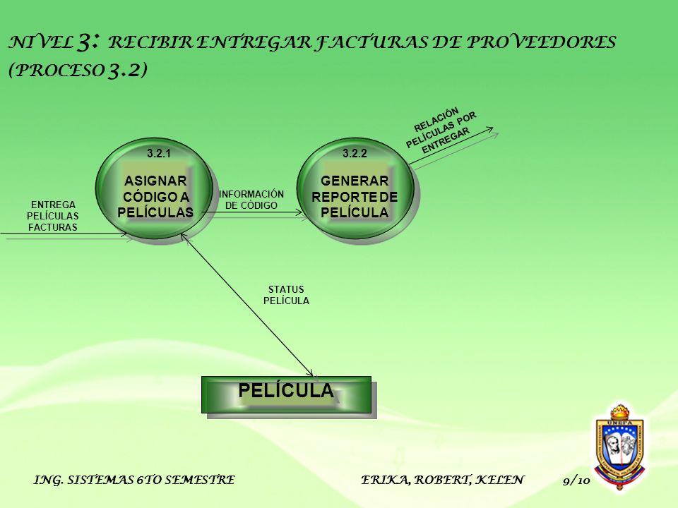 NIVEL 3: RECIBIR ENTREGAR FACTURAS DE PROVEEDORES (PROCESO 3.2)