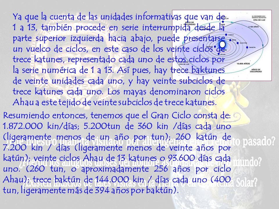 Ya que la cuenta de las unidades informativas que van de 1 a 13, también procede en serie interrumpida desde la parte superior izquierda hacia abajo, puede presentarse un vuelco de ciclos, en este caso de los veinte ciclos de trece katunes, representado cada uno de estos ciclos por la serie numérica de 1 a 13. Así pues, hay trece baktunes de veinte unidades cada uno, y hay veinte subciclos de trece katunes cada uno. Los mayas denominaron ciclos Ahau a este tejido de veinte subciclos de trece katunes.