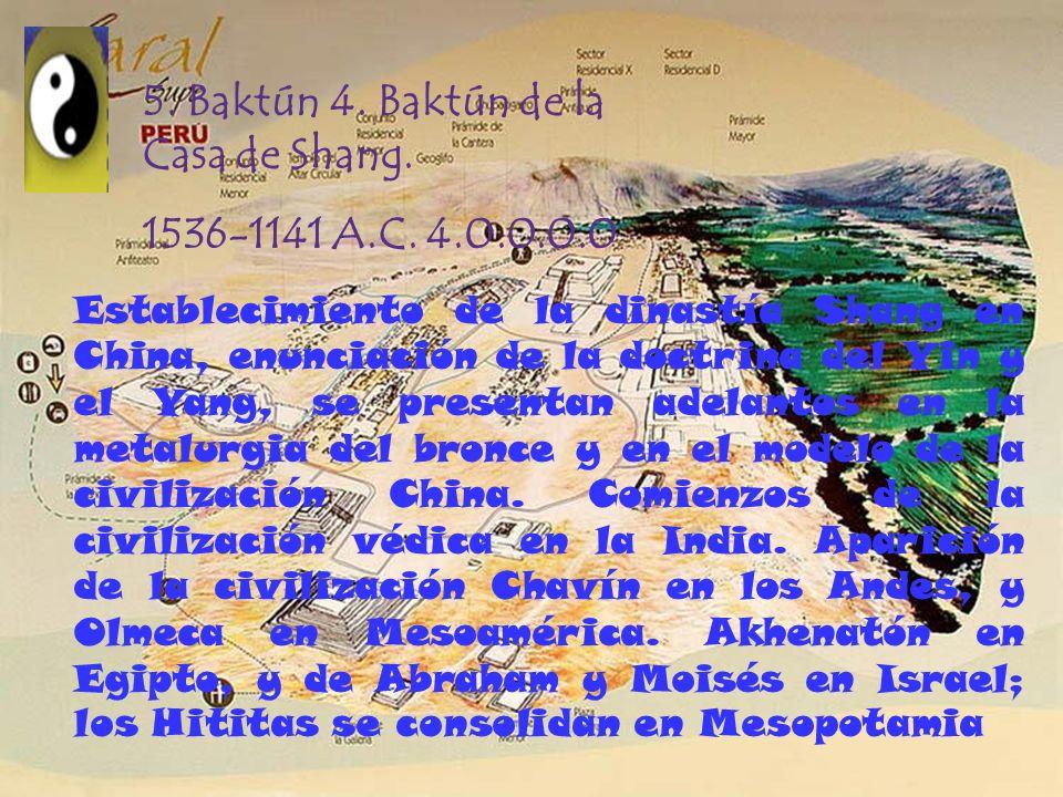 5. Baktún 4. Baktún de la Casa de Shang. 1536-1141 A.C. 4.0.0.0.0