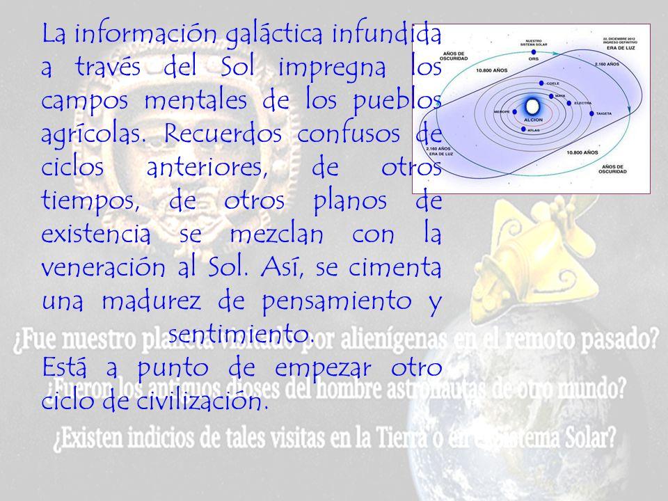 La información galáctica infundida a través del Sol impregna los campos mentales de los pueblos agrícolas.