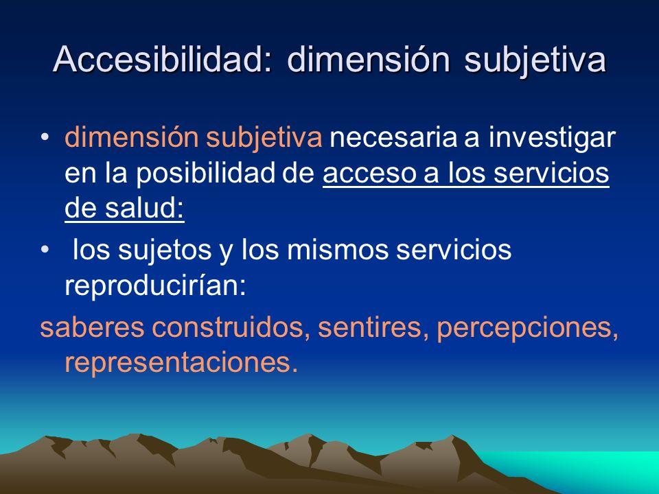 Accesibilidad: dimensión subjetiva