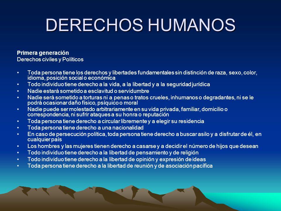 DERECHOS HUMANOS Primera generación Derechos civiles y Políticos