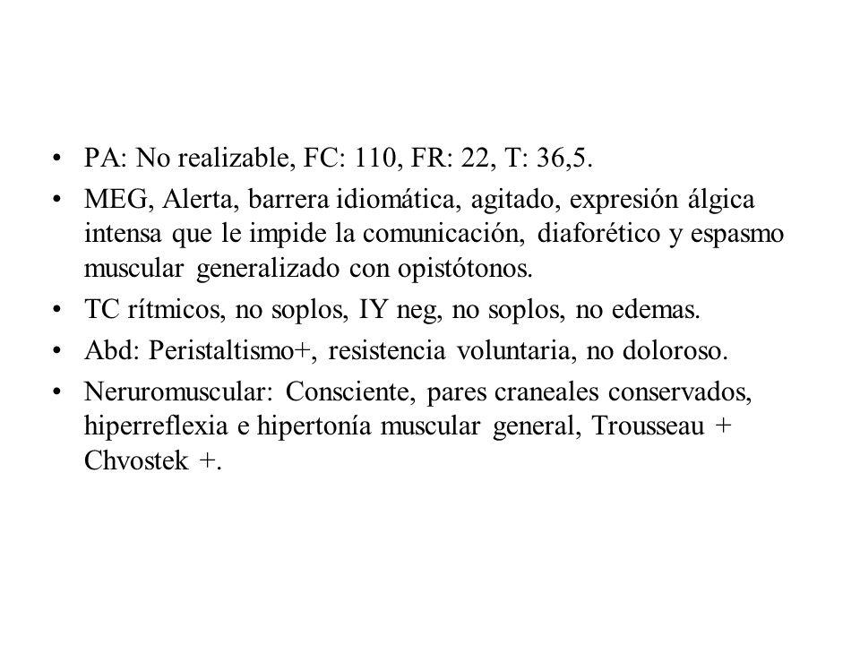PA: No realizable, FC: 110, FR: 22, T: 36,5.