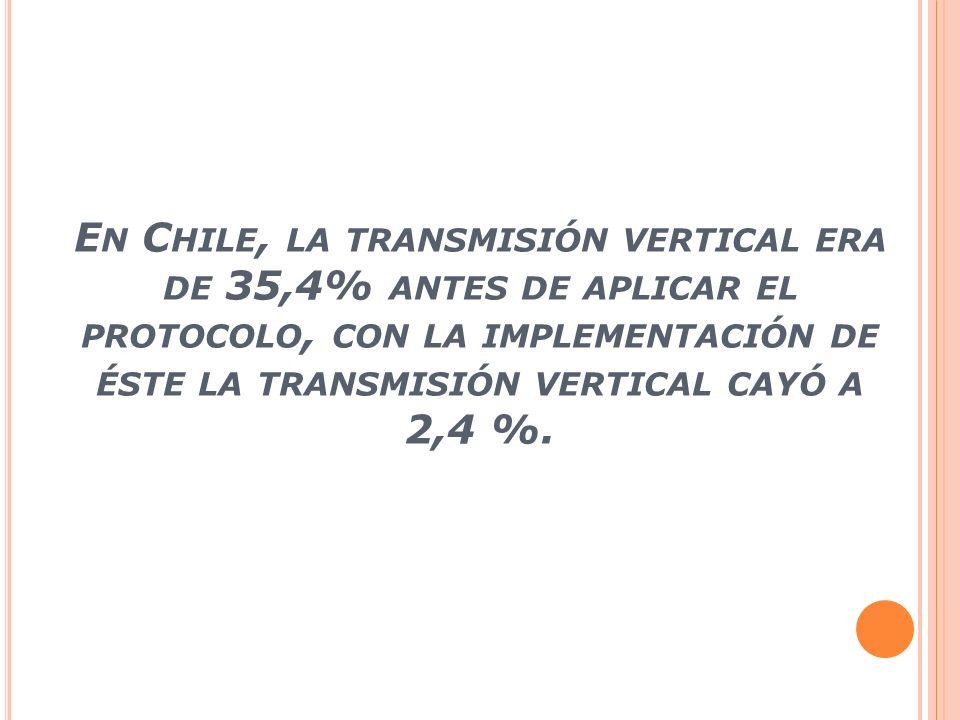 En Chile, la transmisión vertical era de 35,4% antes de aplicar el protocolo, con la implementación de éste la transmisión vertical cayó a 2,4 %.