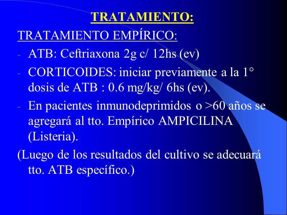 TRATAMIENTO: TRATAMIENTO EMPÍRICO: ATB: Ceftriaxona 2g c/ 12hs (ev) CORTICOIDES: iniciar previamente a la 1° dosis de ATB : 0.6 mg/kg/ 6hs (ev).