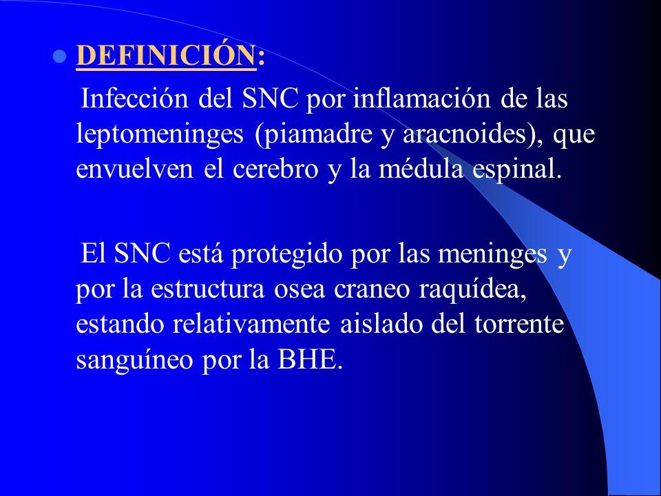 DEFINICIÓN: Infección del SNC por inflamación de las leptomeninges (piamadre y aracnoides), que envuelven el cerebro y la médula espinal.