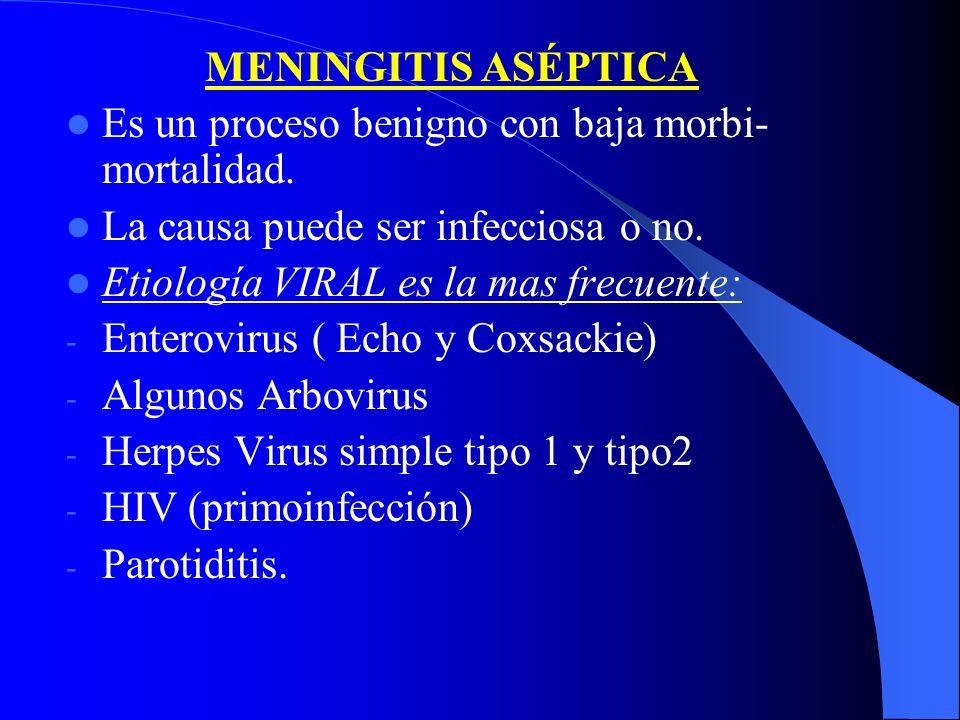 MENINGITIS ASÉPTICA Es un proceso benigno con baja morbi-mortalidad. La causa puede ser infecciosa o no.