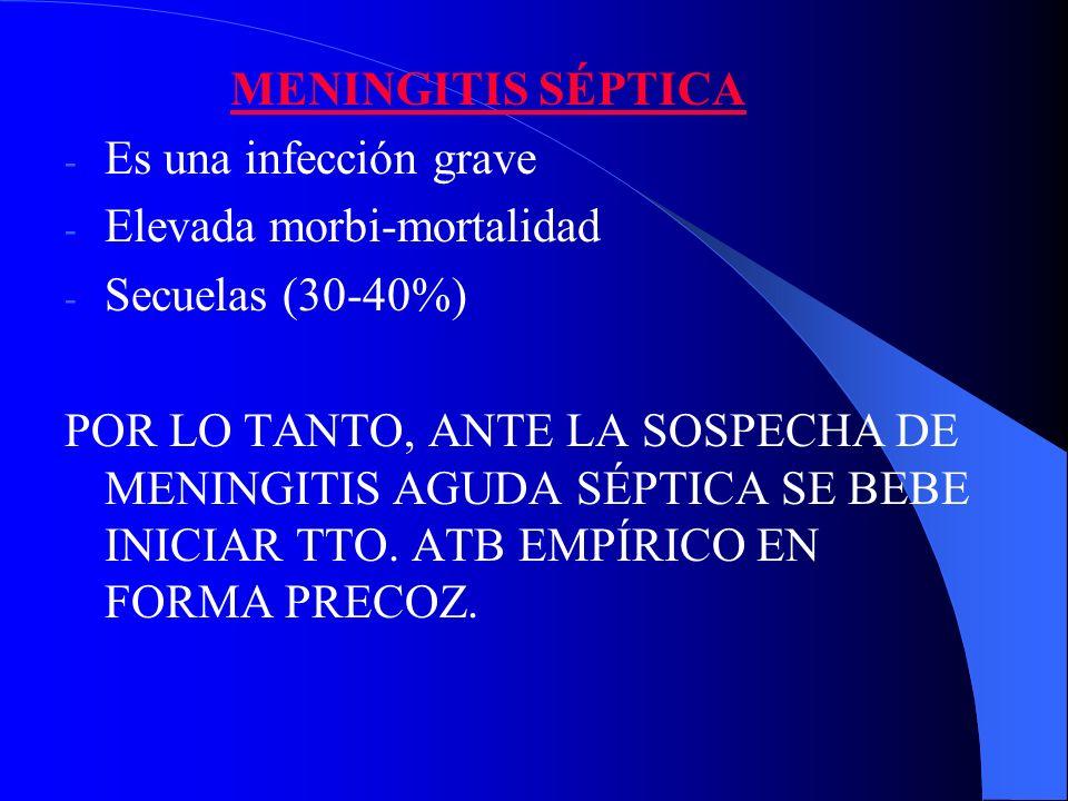 MENINGITIS SÉPTICA Es una infección grave. Elevada morbi-mortalidad. Secuelas (30-40%)
