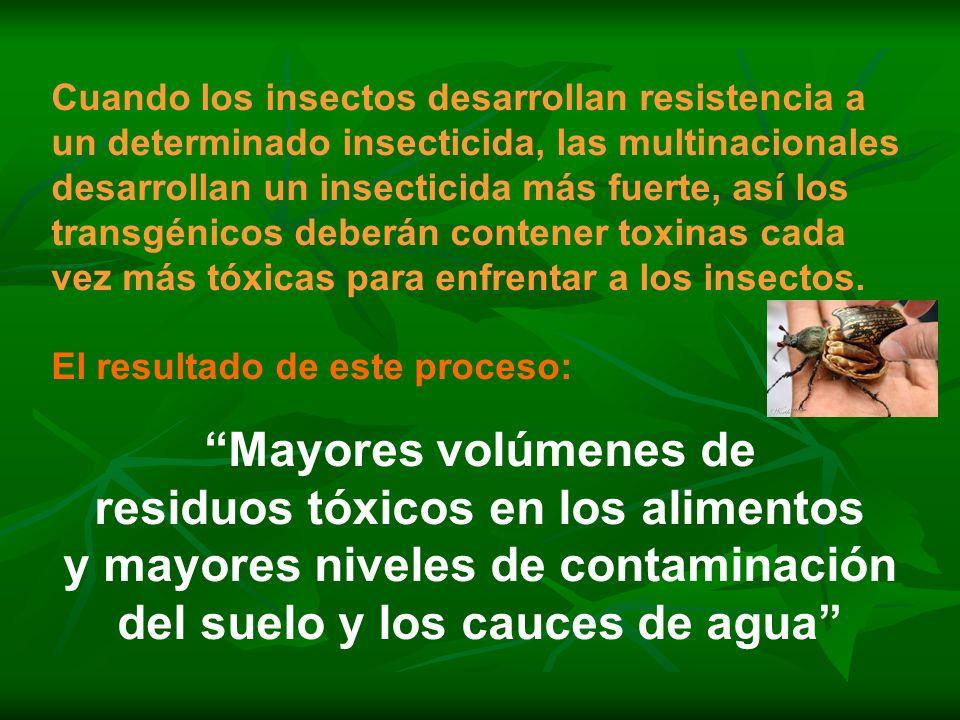 residuos tóxicos en los alimentos y mayores niveles de contaminación