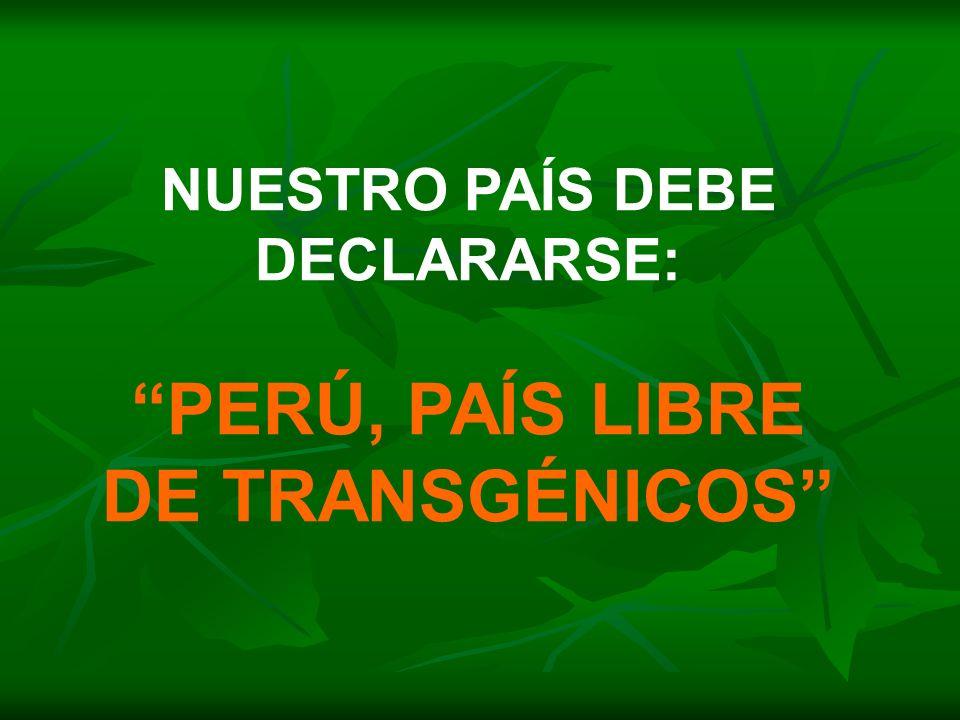 PERÚ, PAÍS LIBRE DE TRANSGÉNICOS