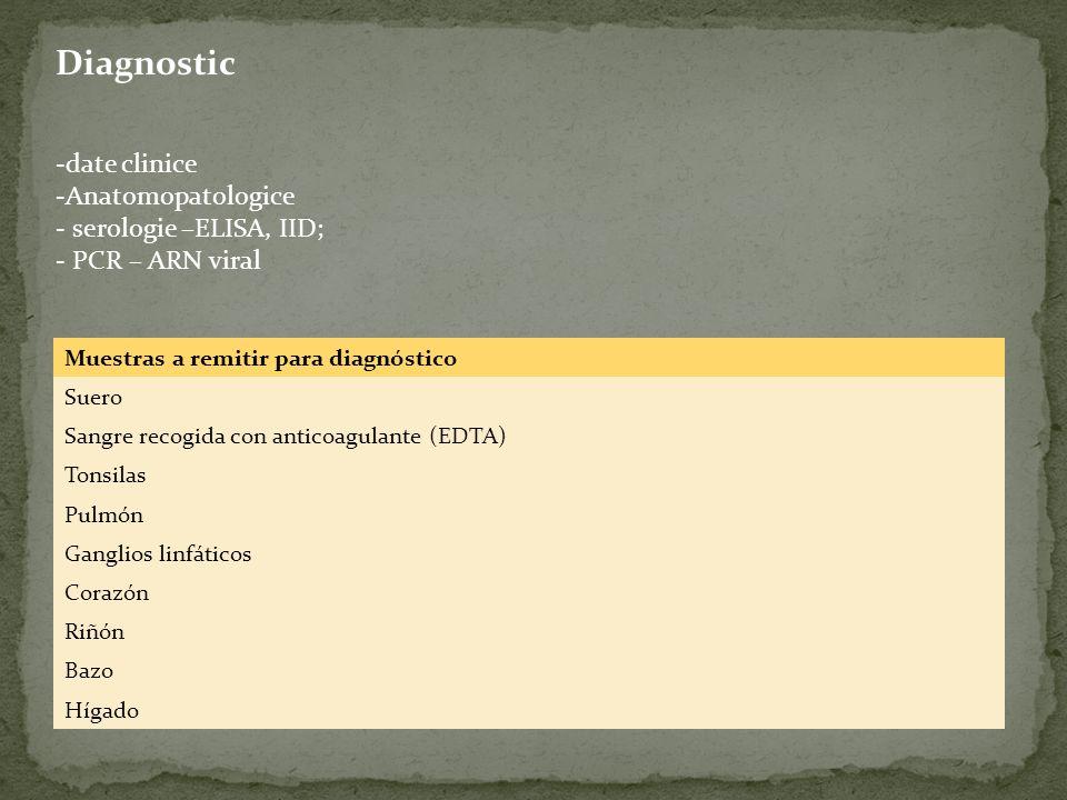 Diagnostic date clinice Anatomopatologice serologie –ELISA, IID;