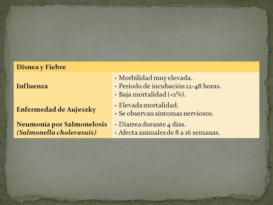 Disnea y Fiebre Influenza. - Morbilidad muy elevada. - Periodo de incubación 12-48 horas. - Baja mortalidad (<1%).