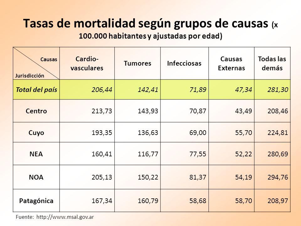 Tasas de mortalidad según grupos de causas (x 100
