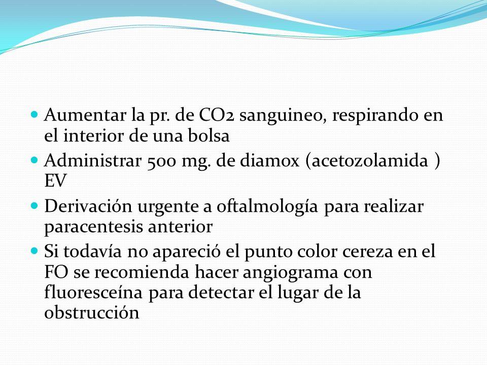 Aumentar la pr. de CO2 sanguineo, respirando en el interior de una bolsa