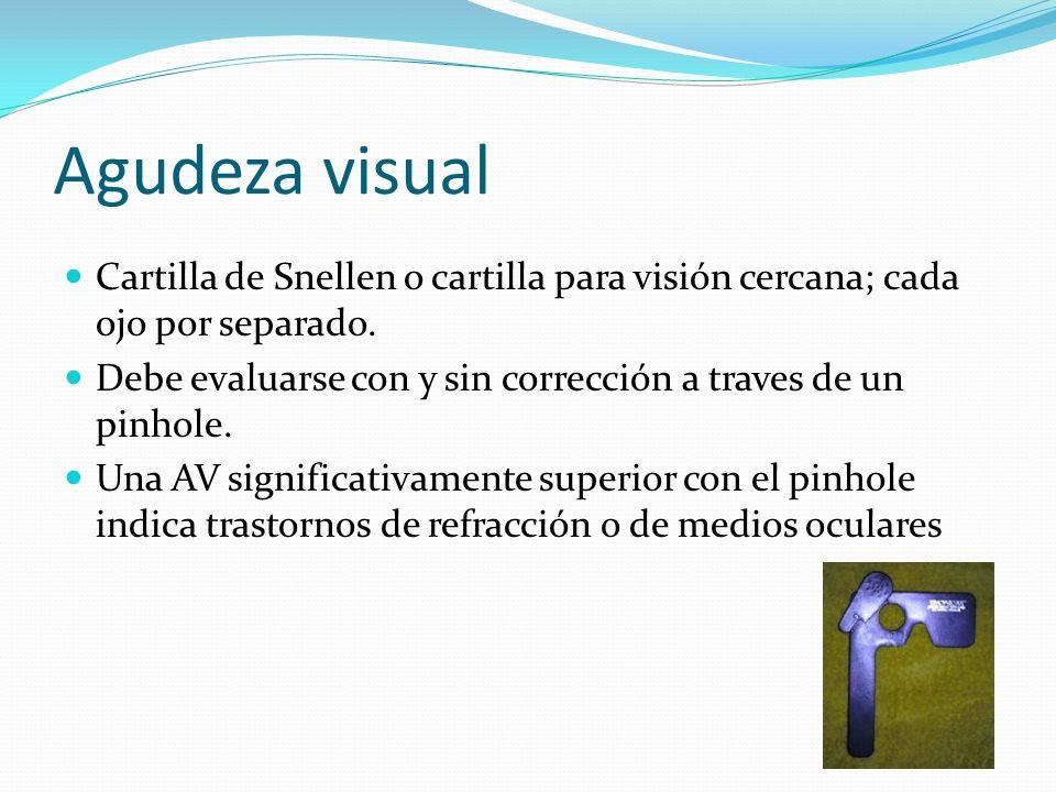 Agudeza visualCartilla de Snellen o cartilla para visión cercana; cada ojo por separado. Debe evaluarse con y sin corrección a traves de un pinhole.