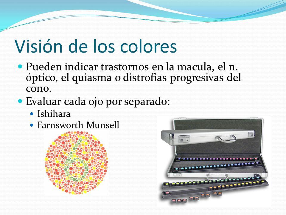 Visión de los colores Pueden indicar trastornos en la macula, el n. óptico, el quiasma o distrofias progresivas del cono.