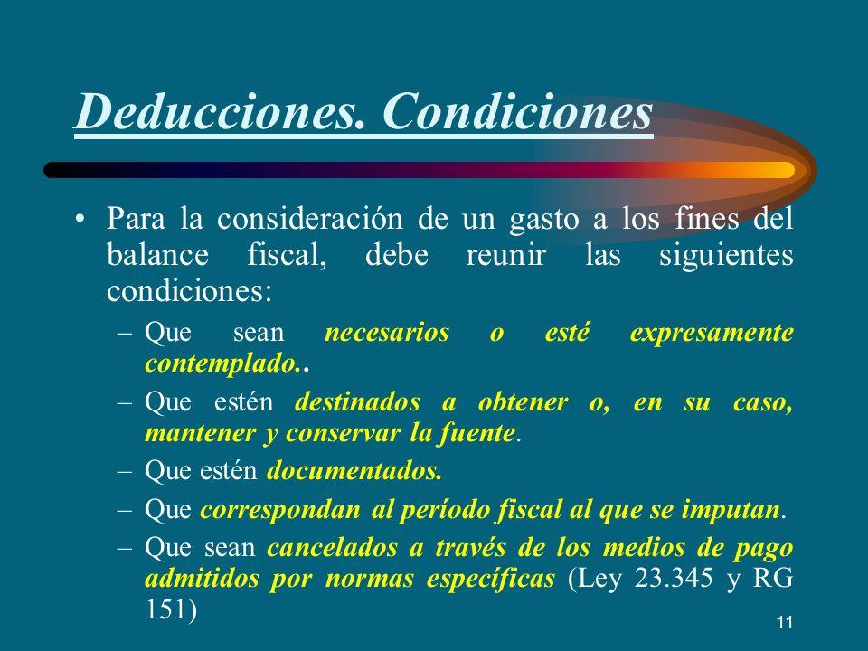 Deducciones. Condiciones