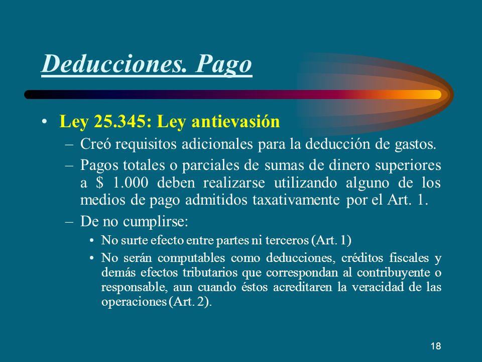 Deducciones. Pago Ley 25.345: Ley antievasión