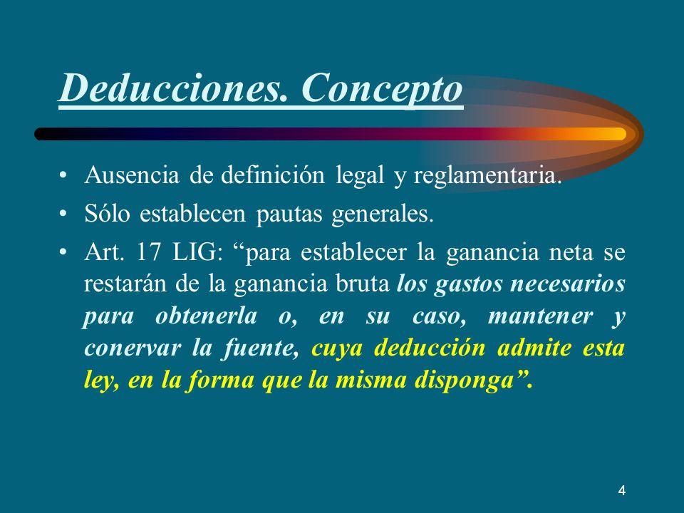 Deducciones. Concepto Ausencia de definición legal y reglamentaria.