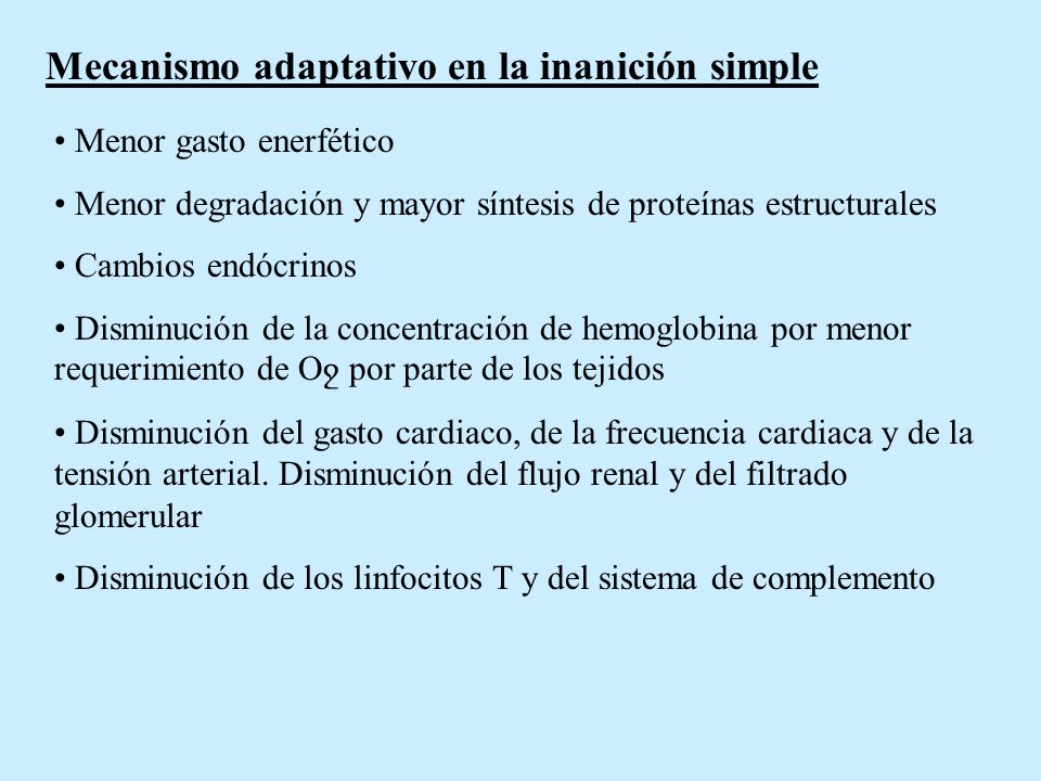 Mecanismo adaptativo en la inanición simple