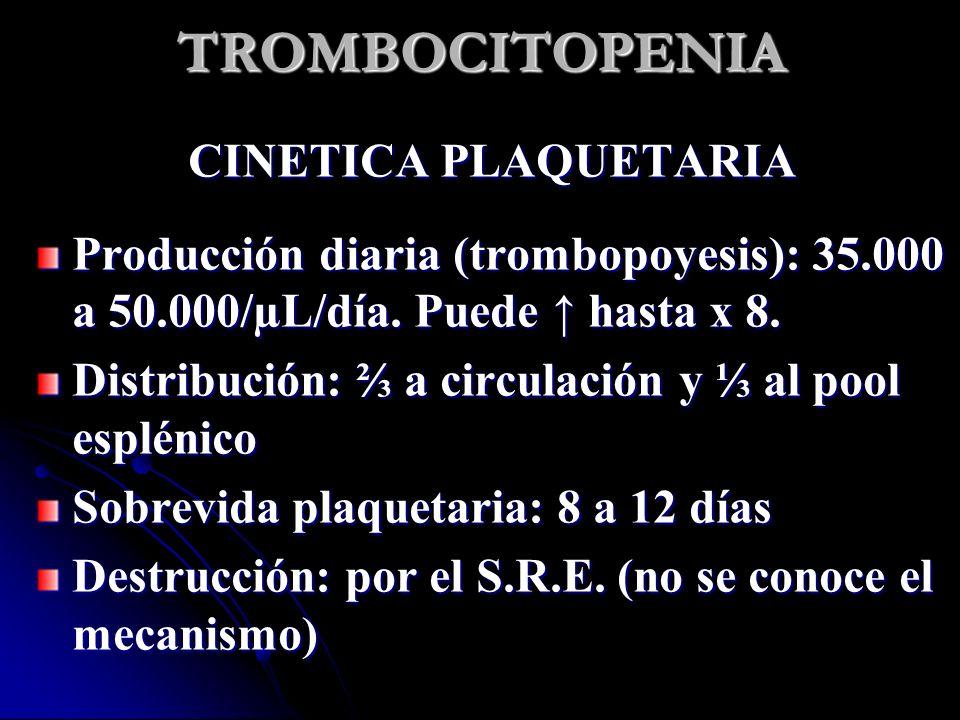 TROMBOCITOPENIA CINETICA PLAQUETARIA
