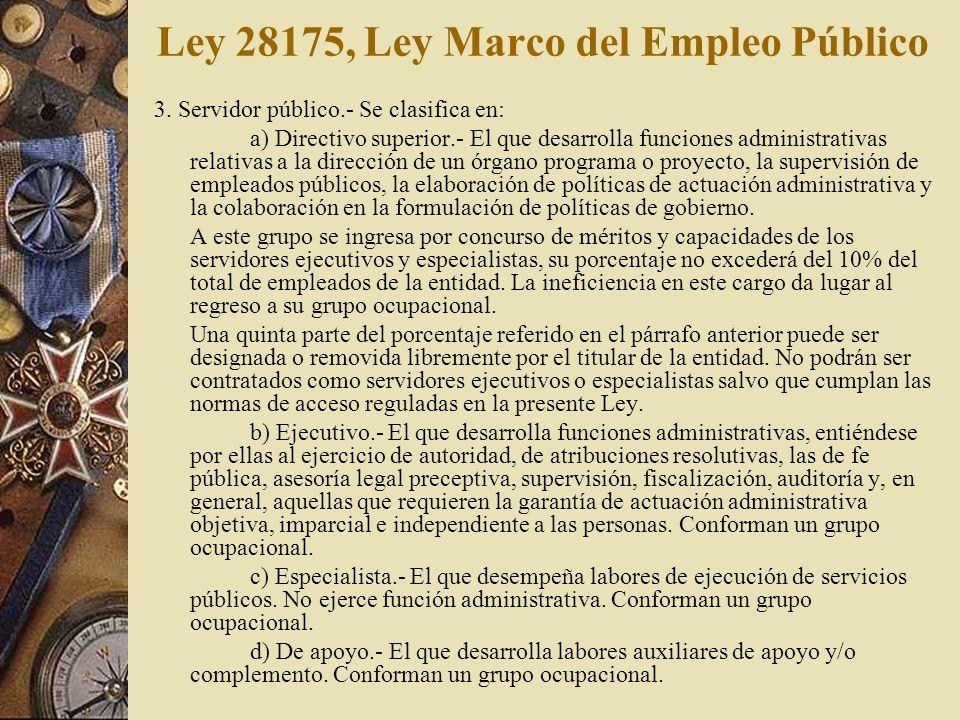 Ley 28175, Ley Marco del Empleo Público