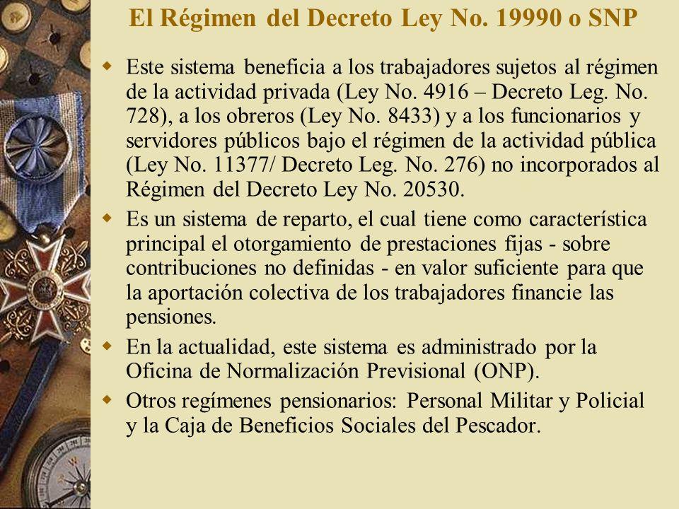 El Régimen del Decreto Ley No. 19990 o SNP