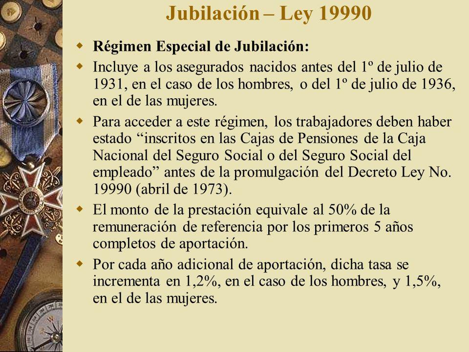 Jubilación – Ley 19990 Régimen Especial de Jubilación: