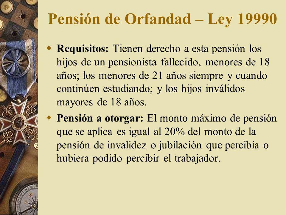 Pensión de Orfandad – Ley 19990