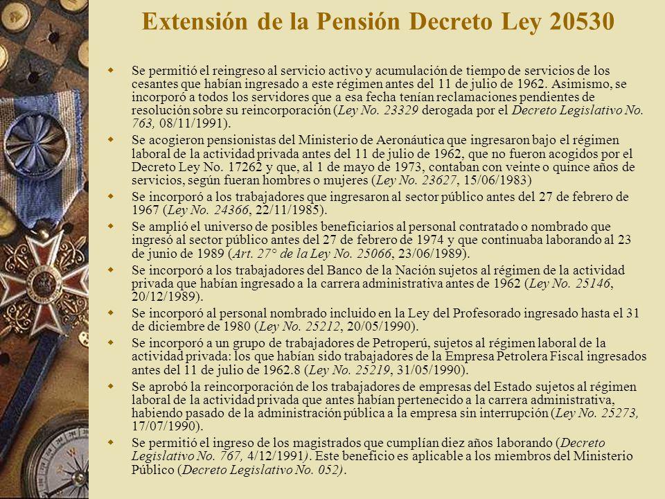 Extensión de la Pensión Decreto Ley 20530