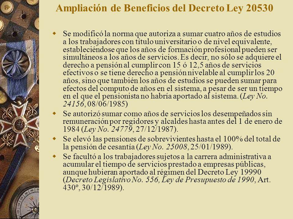 Ampliación de Beneficios del Decreto Ley 20530