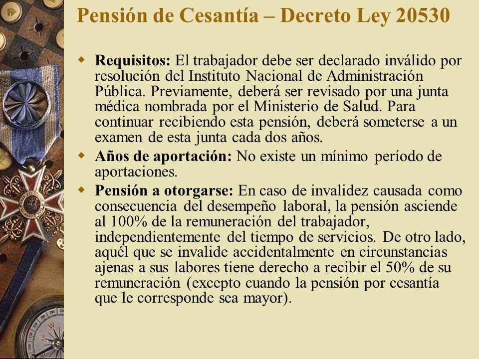 Pensión de Cesantía – Decreto Ley 20530