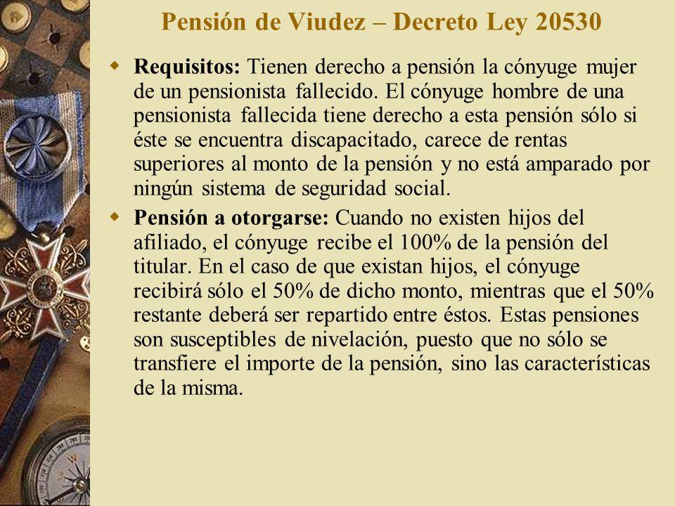 Pensión de Viudez – Decreto Ley 20530
