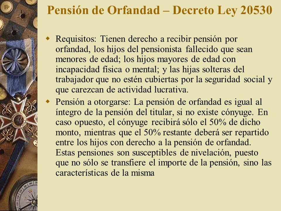 Pensión de Orfandad – Decreto Ley 20530