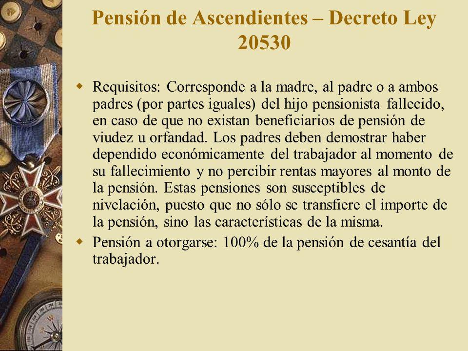 Pensión de Ascendientes – Decreto Ley 20530