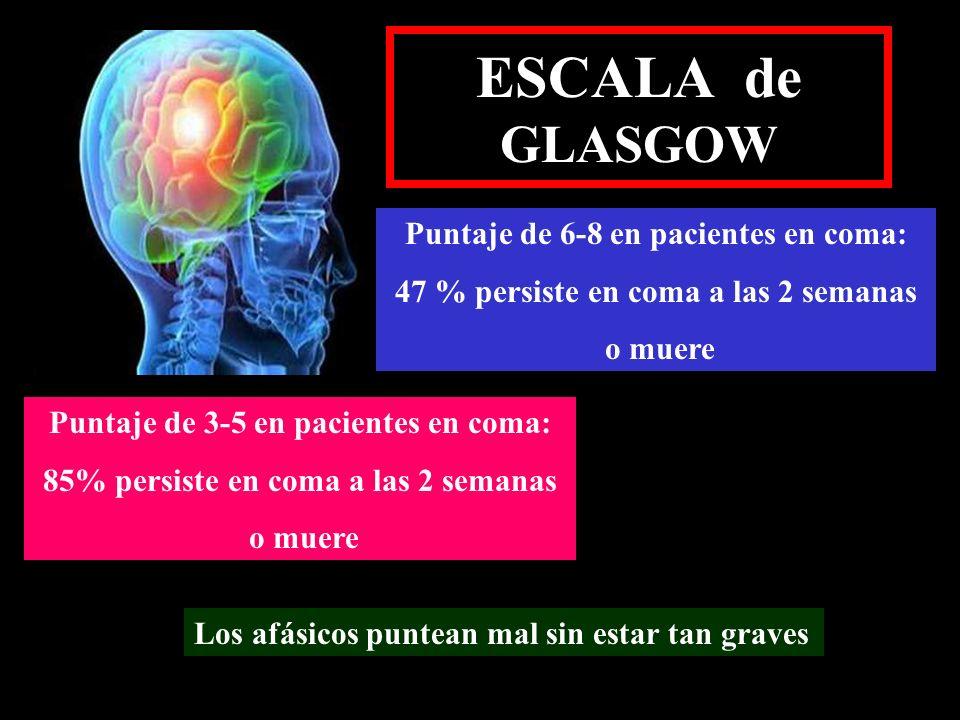 ESCALA de GLASGOW Puntaje de 6-8 en pacientes en coma:
