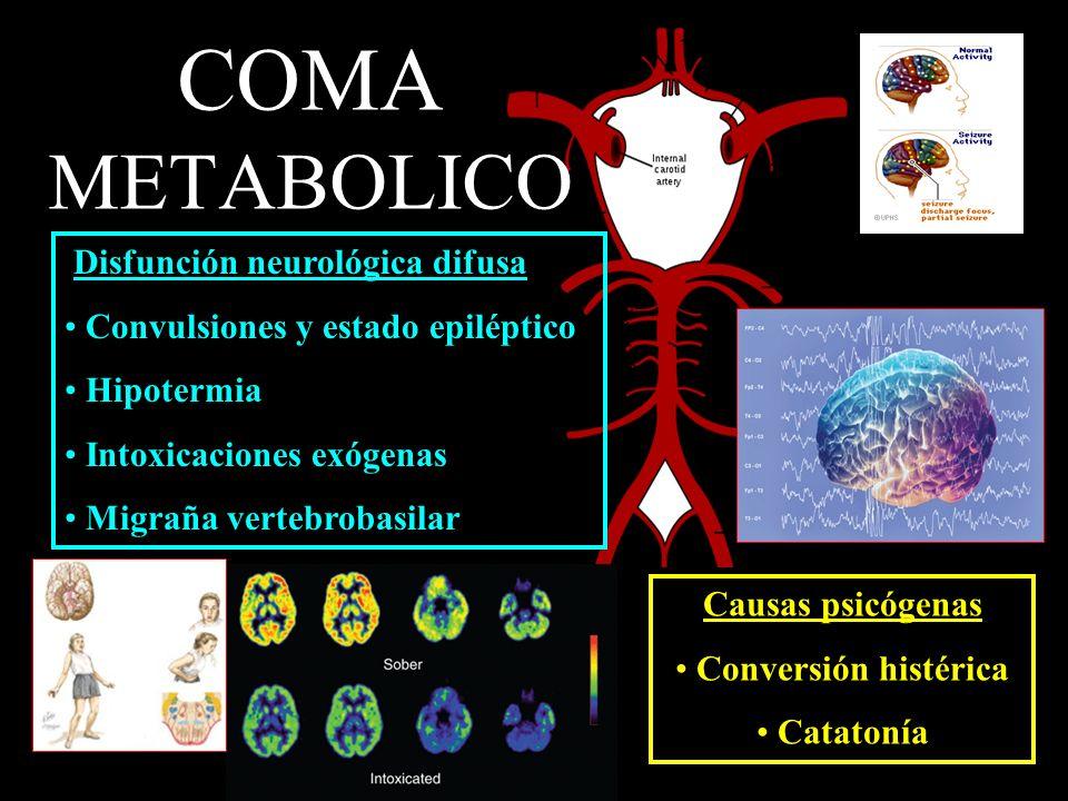COMA METABOLICO Disfunción neurológica difusa