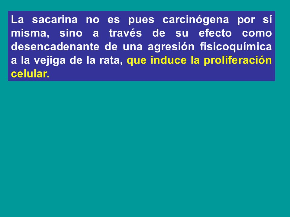 La sacarina no es pues carcinógena por sí misma, sino a través de su efecto como desencadenante de una agresión fisicoquímica a la vejiga de la rata, que induce la proliferación celular.