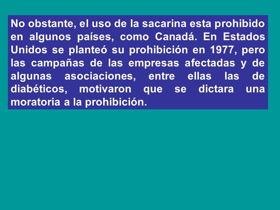 No obstante, el uso de la sacarina esta prohibido en algunos países, como Canadá.