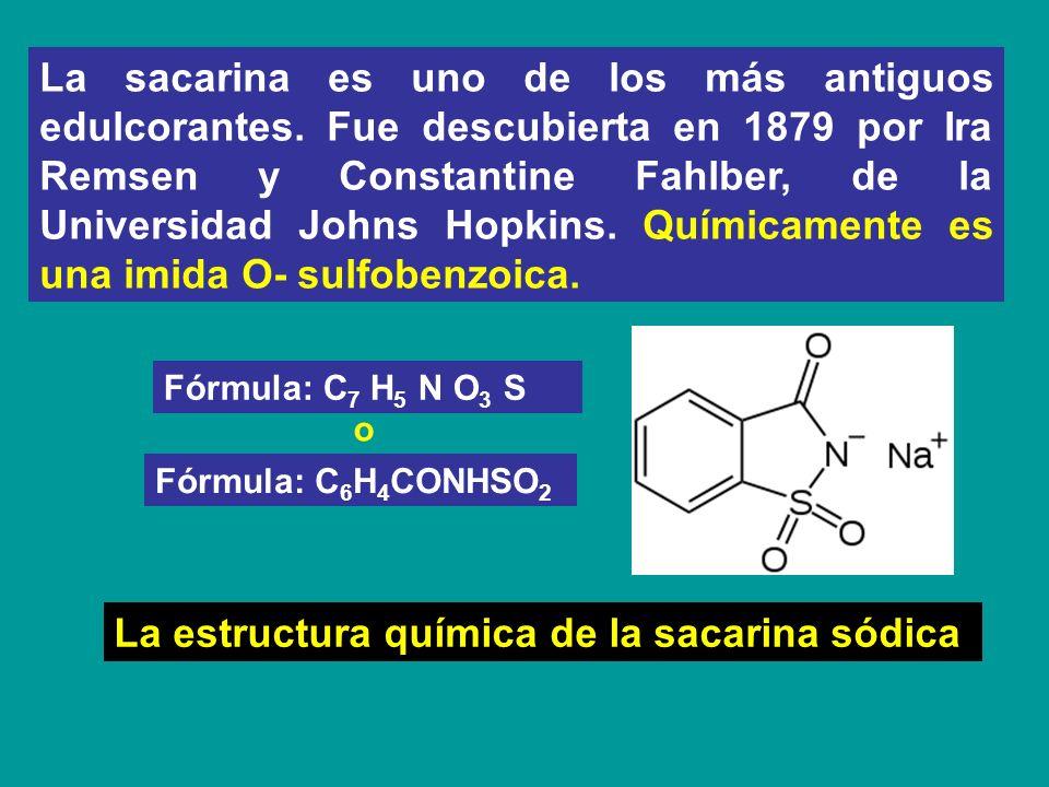 La estructura química de la sacarina sódica