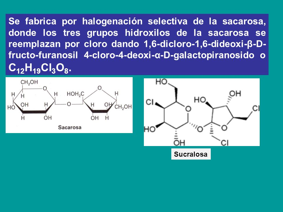 Se fabrica por halogenación selectiva de la sacarosa, donde los tres grupos hidroxilos de la sacarosa se reemplazan por cloro dando 1,6-dicloro-1,6-dideoxi-β-D-fructo-furanosil 4-cloro-4-deoxi-α-D-galactopiranosido o C12H19Cl3O8.