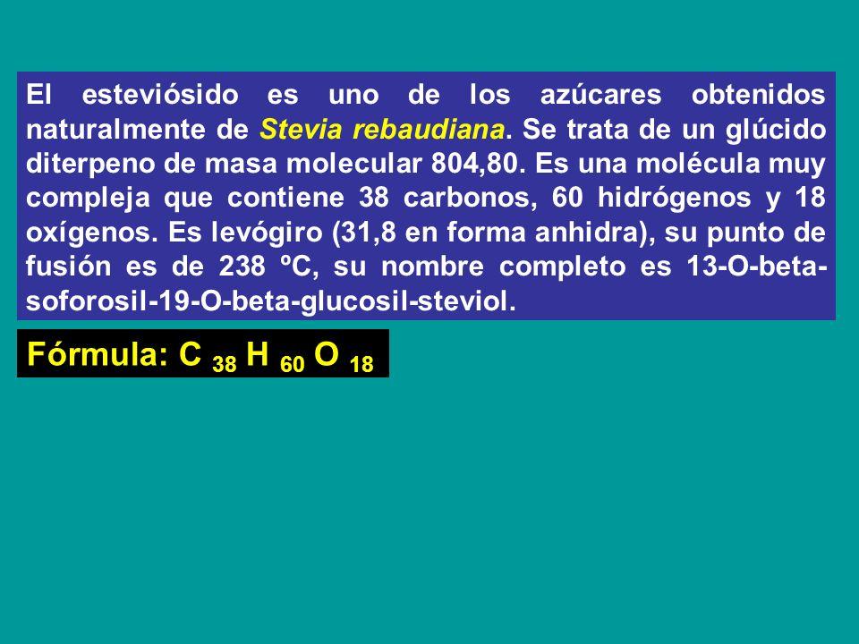 El esteviósido es uno de los azúcares obtenidos naturalmente de Stevia rebaudiana. Se trata de un glúcido diterpeno de masa molecular 804,80. Es una molécula muy compleja que contiene 38 carbonos, 60 hidrógenos y 18 oxígenos. Es levógiro (31,8 en forma anhidra), su punto de fusión es de 238 ºC, su nombre completo es 13-O-beta-soforosil-19-O-beta-glucosil-steviol.