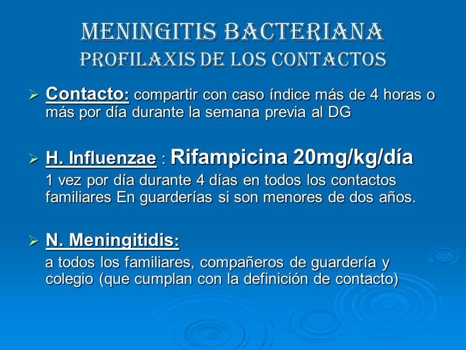 MENINGITIS BACTERIANA Profilaxis de los contactos