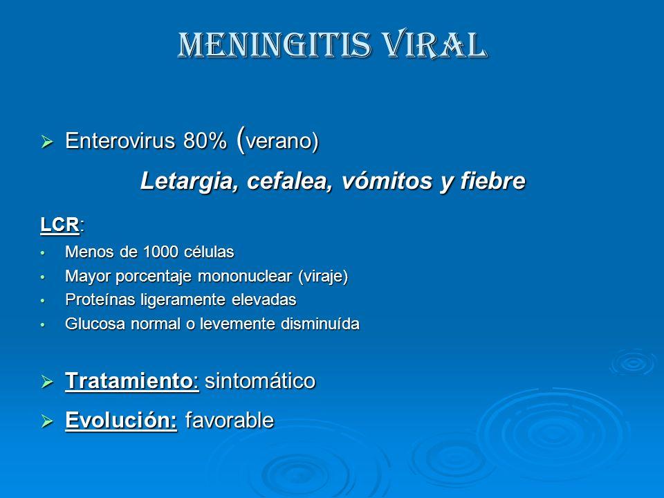 Letargia, cefalea, vómitos y fiebre