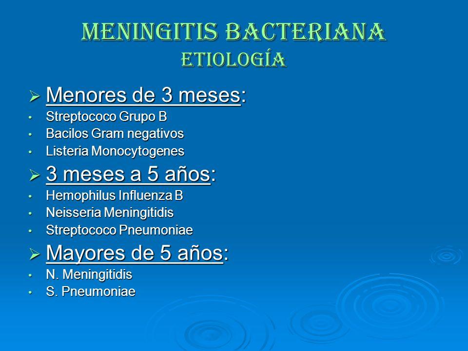 MENINGITIS BACTERIANA Etiología